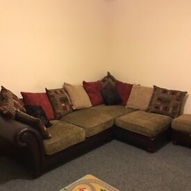 Corner sofa and footstool - perfect condition