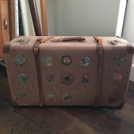 Vintage Large Suitcase With Travel Stickers And Leather Straps