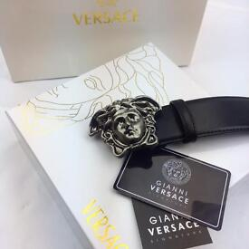 Matte silver buckle metal with smart black leather belt for men versace perfect with jeans or suit