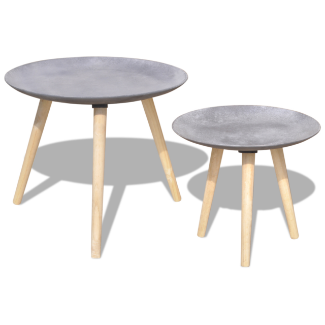 2 Coffee Tables Side Table Set Modern Round Furniture Living Room Concrete Grey