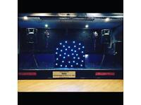 Equinox Dj booth with starcloth