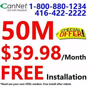 FREE installation + FREE Dry loop with your own modem, Unlimited 50M internet for $39.98/month. Please call 416-222-2222