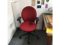 FREE OFFICE CHAIRS!!! Three Red Fabric adjustable office chairs with arms in v. good condition