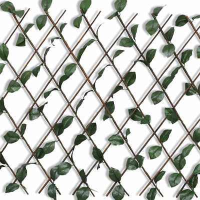 vidaXL 5x Expandable Willow Trellis Fence with Artificial Leaves Palisade