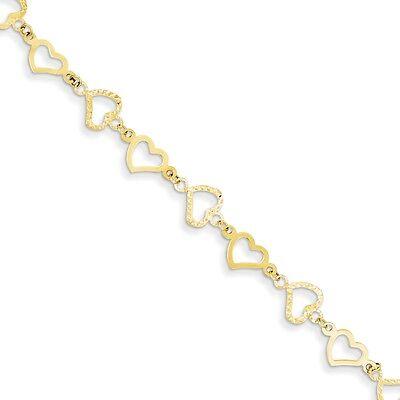 14k Yellow Gold 7mm Polished Casted Flat Diamond Cut Open Hearts Bracelet -