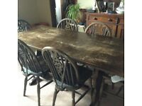 Refectory table and 6 wheelback chairs