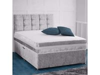 BIG SALE -NEW DOUBLE/SMALL DOUBLE OR KING CRUSH VELVET DIVAN BED WITH DEEP QUILT SEMI ORTHO MATTRESS