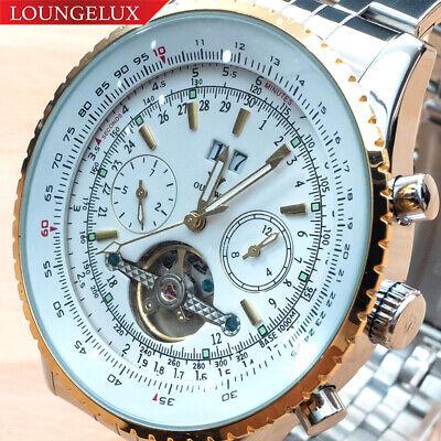 NEW Mens Flywheel Stainless Luxury Bling Skeleton Automatic Mechanical Watch Big