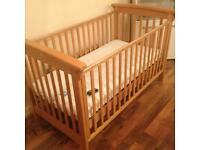 Free delivery with pine dropside cot - can be cot bed with mattress for sale