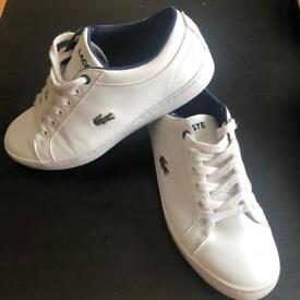 Lacoste white leather trainers, uk4