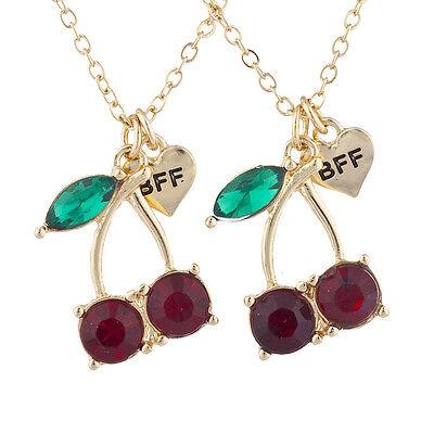Lux Accessories Gold Tone Cherry BFF Best Friends Charm Pendant Necklace 2PC ()