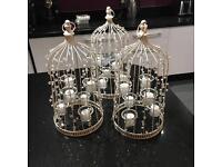 Cream tea light birdcages x3