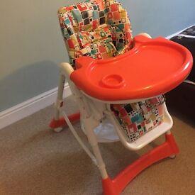 Multi level reclining high chair