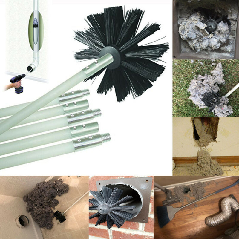 Dryer Air Duct Vent Cleaning Brush Head Flexible Rod Kit Lin