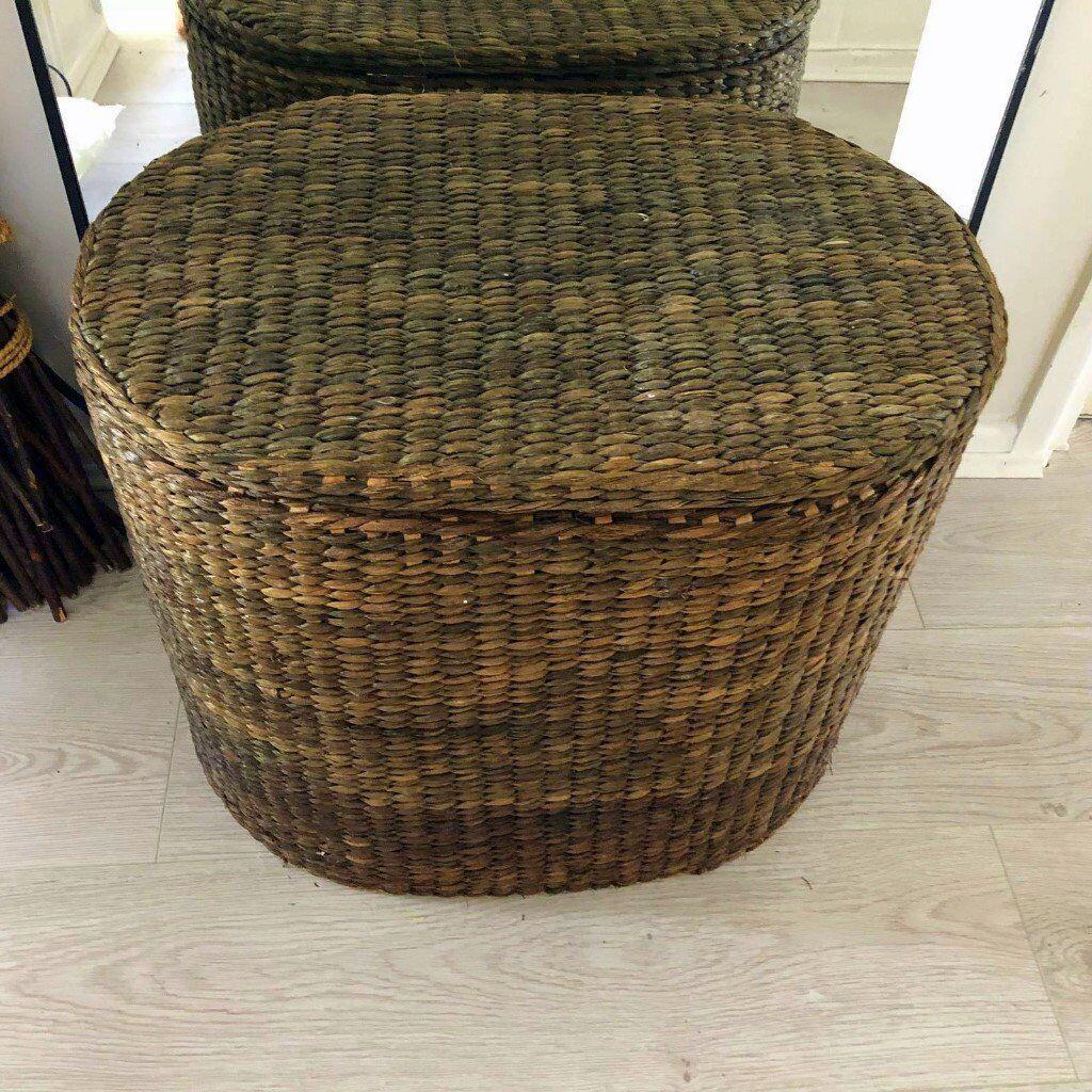 Antique original Wicker Basket Fireside Blanket Baset / Toy storage Hobby Craft storage etc & Antique original Wicker Basket Fireside Blanket Baset / Toy storage ...