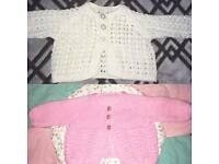 Baby girl knitted cardigans and hats bundle