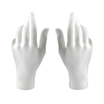 Set Of 2 Female Mannequin Jewelry Hands Display Stand Plastic White