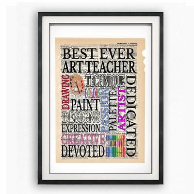 Best Ever Art Teacher Dictionary Art Print Contemporary Music Teachers (Best Music Teachers)