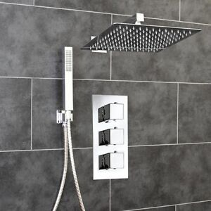 Concealed Thermostatic Chrome Shower Mixer Valve   300mm Thin Overhead   2 Way