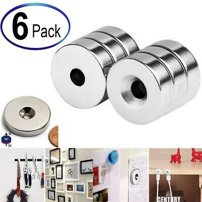 6pcs New 34 X 14 Inch Neodymium Rare Earth Countersunk Ring Magnets N52 Usa
