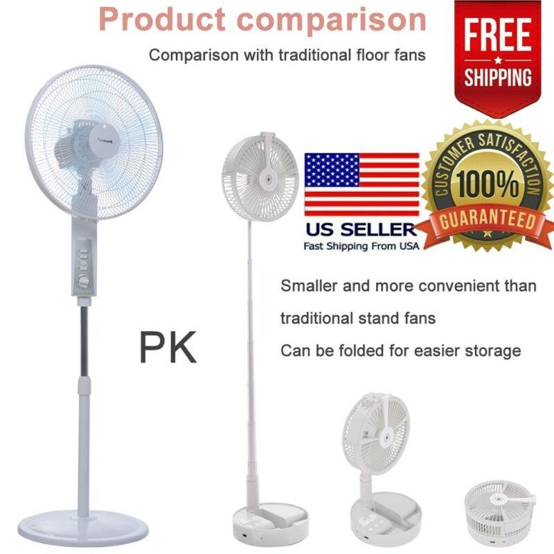 portable folding pedestal stand fan usb rechargeable