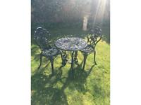 Wrought or cast iron garden furniture bistro set