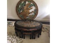 Antique carved wooden Chinese tea table with 6 stools