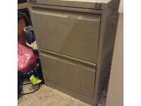 Bisley beige metal two drawer filing cabinet