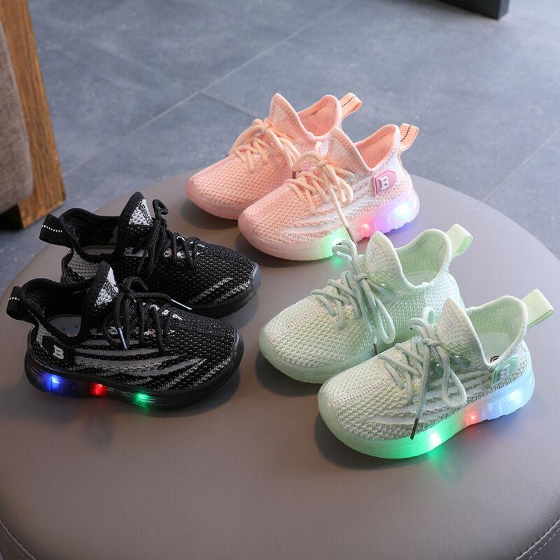 Toddler Infant Kids Baby Girls Boys Mesh LED Light Luminous