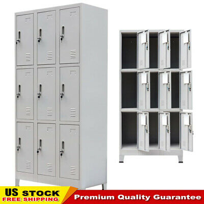 Changing Room Locker Cabinet With 9 Compartments Steel 35.4x17.7x70.9 Gray