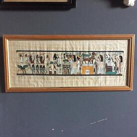 Lovely vintage Egyptian papyrus - framed picture in great condition