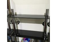 7 x MAXWELL - Versatile wall mounted , 8 Tier , chrome & black glass Storage Racks (DVD/CD/Books)