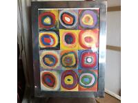 Quirky colourful painting with frame.