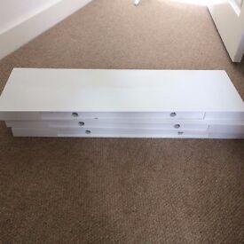 Three 80cm long floating white shelves