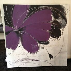 Gorgeous Purple Canvas Large Picture - Ex.Cond, purple, black, silver and white