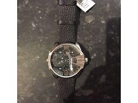 Big daddy black leather watch