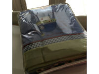 Baby Boys Boat Cot Bed Set - Blue Check with Green, Red and White Accent Colours