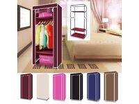Single Canvas Wardrobe Bedroom Storage Furniture More 3 Shelves Fabric Wardrobe