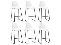 Bar Chairs 6 pcs White Plastic-279653