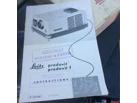 LEitz, German,Circa 1950's slide projector, stand, screen and assorted slide storage boxes