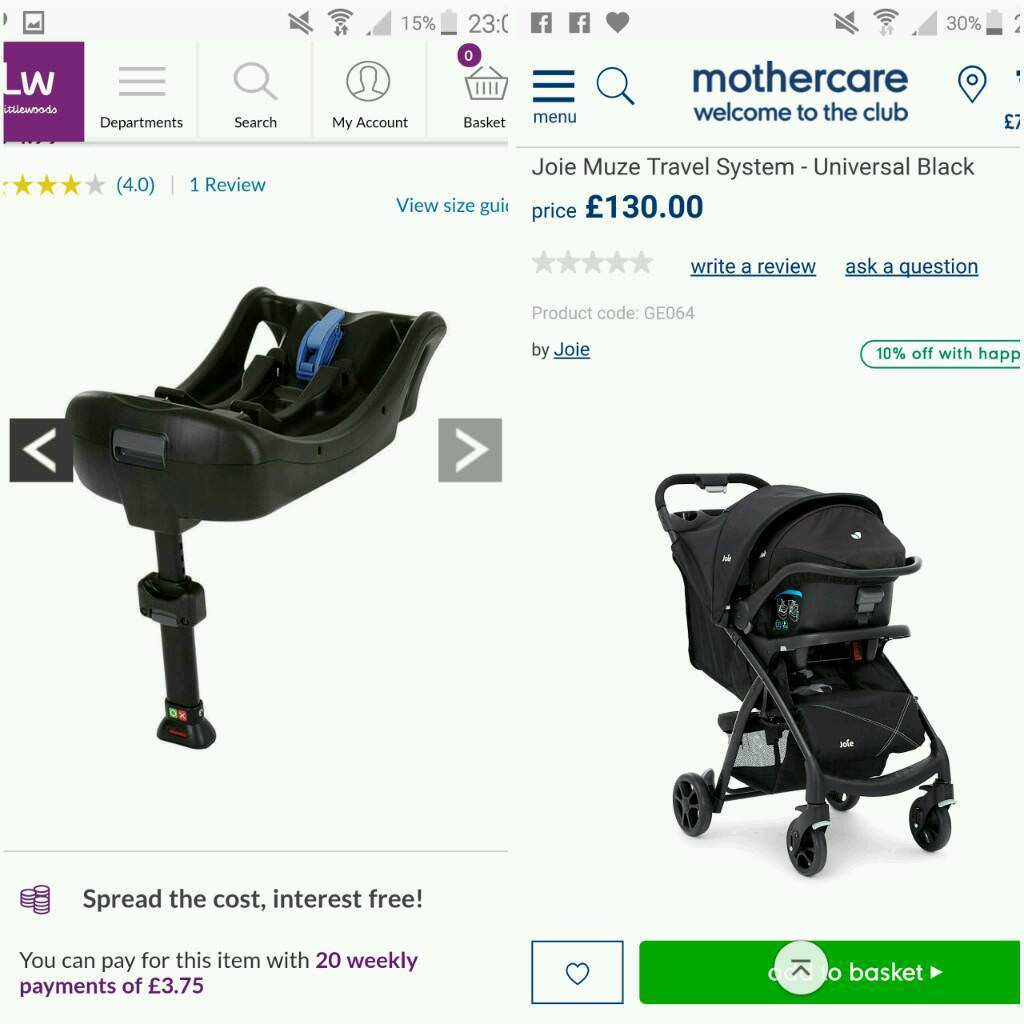 Joie Travel System and isofix