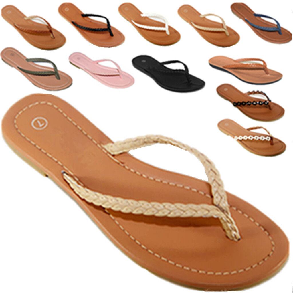 NEW Womens Summer Comfort Casual Thong Flat Flip Flops Sanda