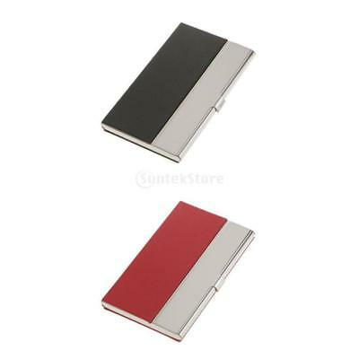 2pcs Stylish Business Id Name Credit Card Holder Black Red Stainless Steel