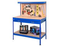 Metal Work Bench Heavy Duty Garage Unit Tool Storage Drawer Pegboard Shelf DIY