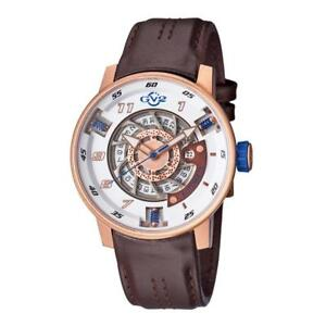 Brand New GV2 by Gevril Men's Motorcycle Sport' Automatic Stainless Steel and Brown Leather Casual Watch (Model: 1302)