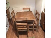 Corona style wooden table & chairs