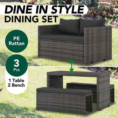 Garden Furniture - vidaXL 3 Piece Outdoor Dining Set with Cushions Poly Rattan Grey Garden Lounge