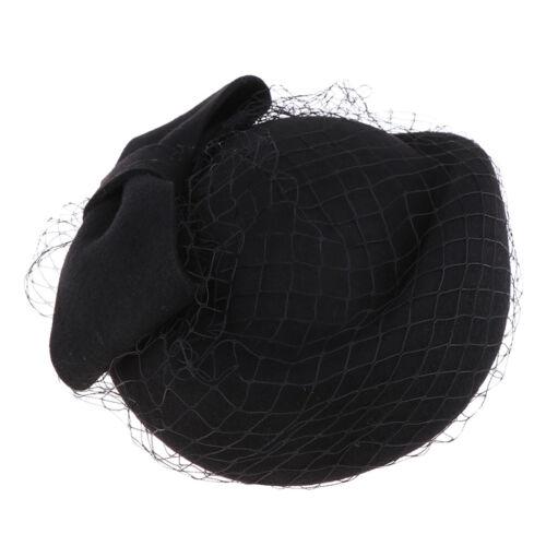 Frauen Schleier Pillbox Hut Bowknot Braut Cocktail Fascinator Barett Mütze