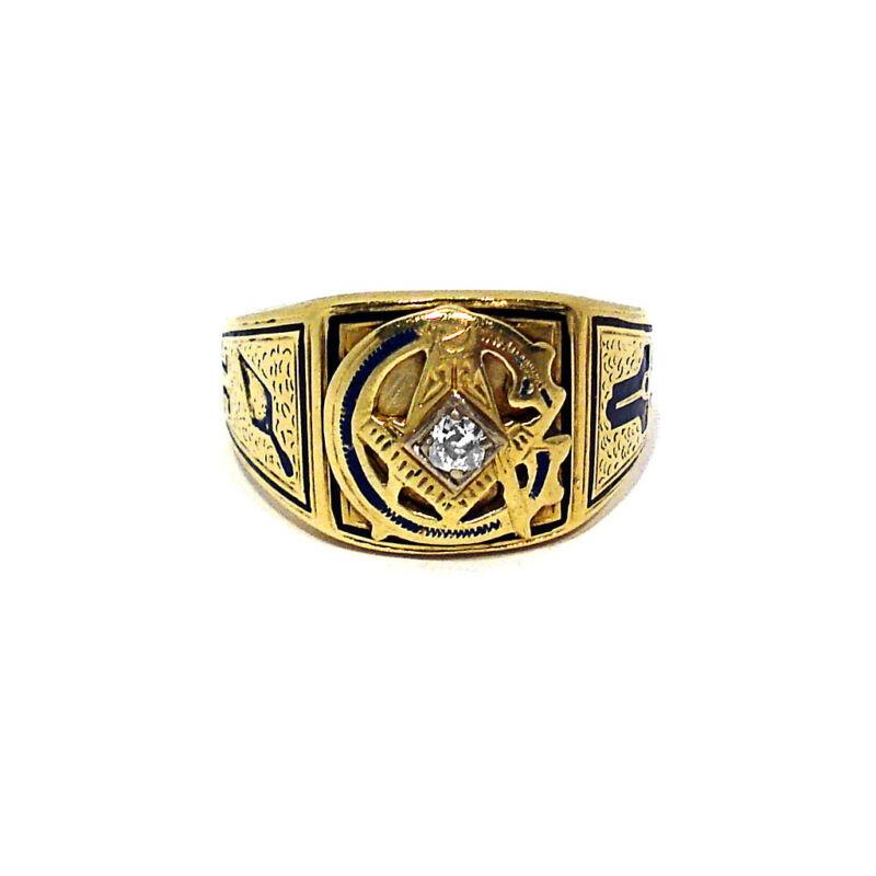 SOLID 14K YELLOW GOLD & DIAMOND MASONIC RING ~ SIZE 10 1/2