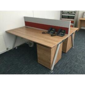 Double desk Set with matching under desk pedestal